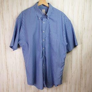 Brooks Brothers Blue Check S/S Mens Shirt XL